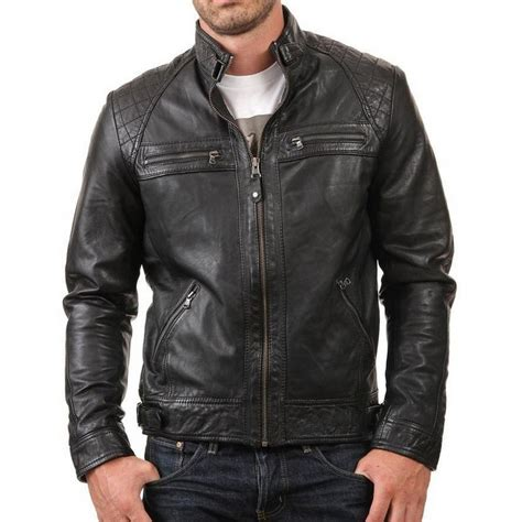 real leather jackets mens retro style new biker mens black genuine leather jacket in slim fit