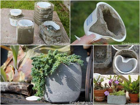 diy cement planters diy molded concrete planters fabdiy