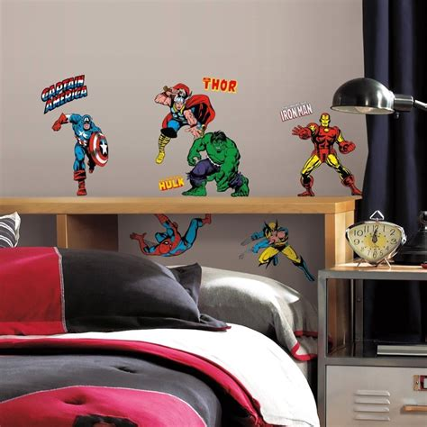 32 new classic marvel heroes wall decals stickers boys bedroom decor ebay