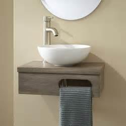 bathroom wall vanities 18 quot dell teak wall mount vessel vanity with towel bar