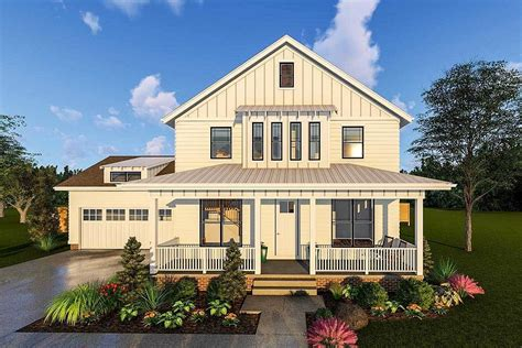 new farmhouse plans 2 story modern farmhouse plan with front porch and rear covered patio 62715dj architectural