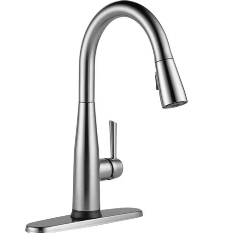 delta touch2o kitchen faucet delta essa touch2o technology single handle pull sprayer kitchen faucet with magnatite