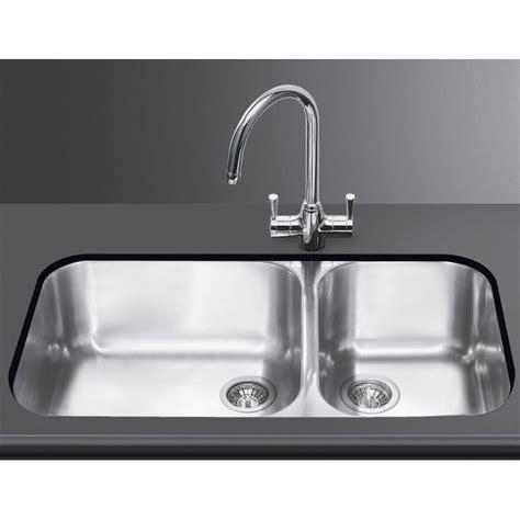 smeg um4530 kitchen sink undermounted 2 bowls brushed
