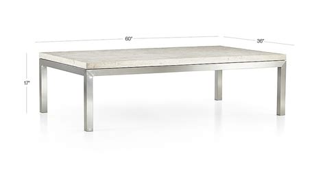 parsons coffee table crate and barrel parsons travertine top stainless steel base 60x36 large