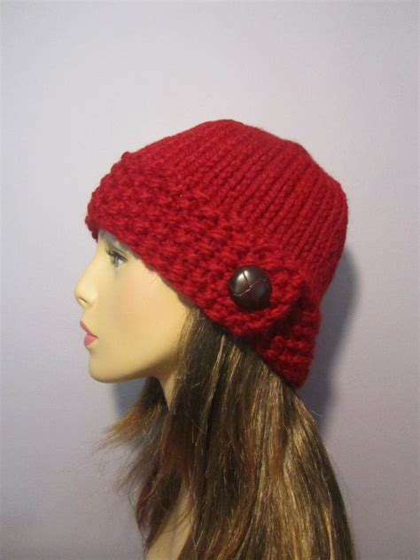 knit hat with brim pattern free pattern button brim knit hat pdf pattern knit hat pattern