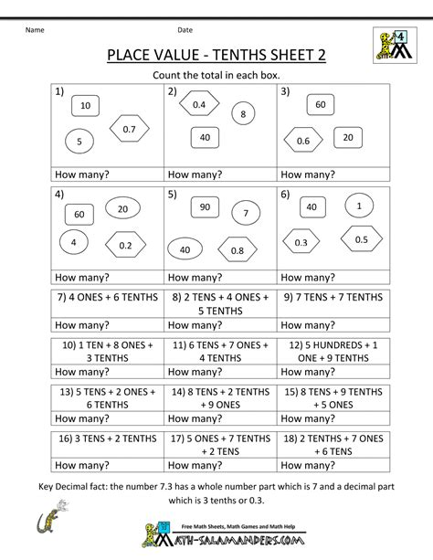 for 4th graders decimal place value worksheets 4th grade