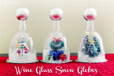 wine glass crafts diy snow globe tutorial wine glasses crafts unleashed