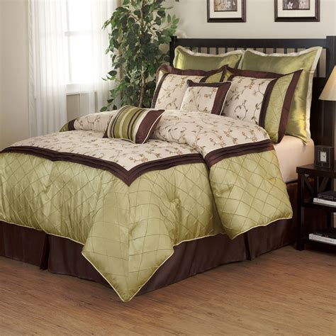brown and green comforter sets beautiful 7pc modern luxurious green brown texture