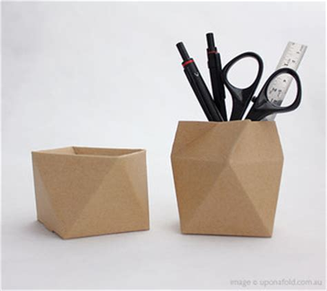 origami pencil cup thread lid box antiprism modern desk accessories by