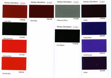 paint colors for harley harley davidson paint color chart harley davidson
