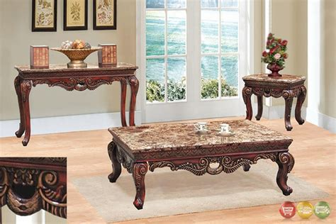 marble living room table traditional 3 living room coffee end table set w