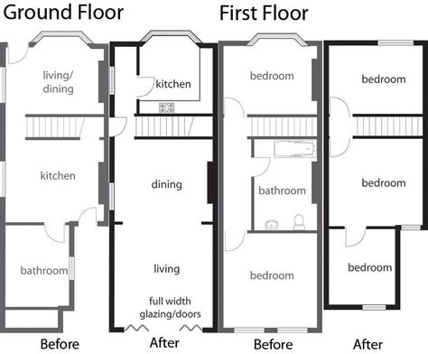 kitchen extension floor plans how to extend and remodel terraced homes homebuilding