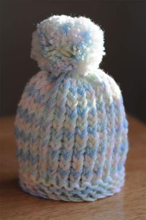 loom knit newborn hat loom knit puff infant hat yarn