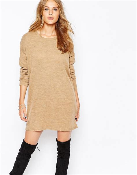 how to knit dress vila vila sleeve knitted jumper dress at asos
