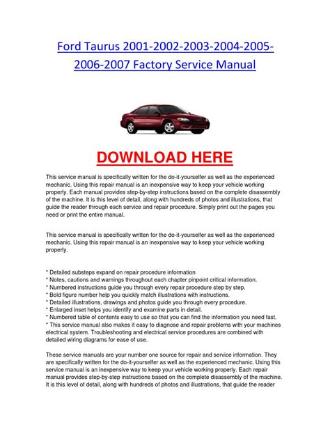 auto repair manual online 2003 ford taurus head up display ford taurus 2001 2002 2003 2004 2005 2006 2007 factory service manual by chevroletservice issuu
