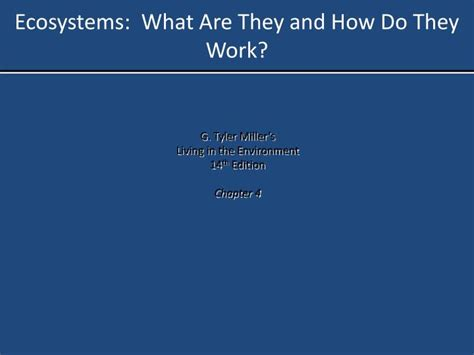 do they work ppt ecosystems what are they and how do they work