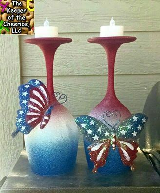 wine glass craft projects whimsical patriotic wine glass candle holders