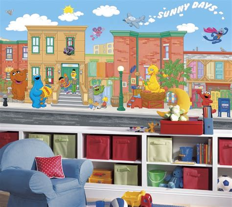 Sesame Street Wall Mural sesame street chair rail wallpaper mural 6 x 10 5