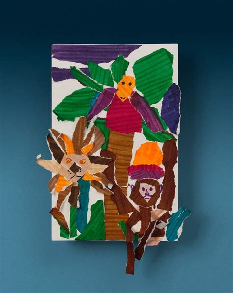 jungle crafts for jumping jungle collage craft crayola