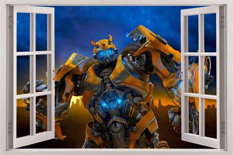 Transformers Wall Murals bumblebee transformers 3d window view decal wall sticker