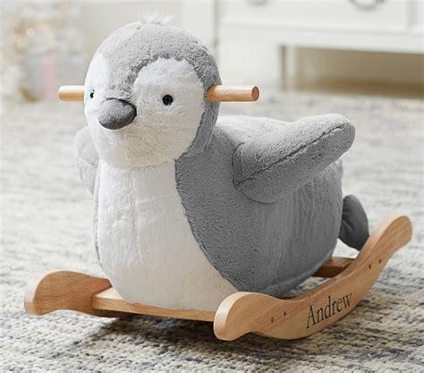 stuffed animal rocker nursery penguin plush rocker pottery barn