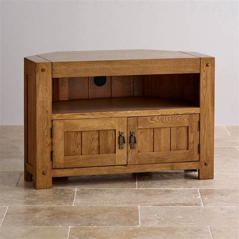 solid oak tv cabinet quercus corner tv cabinet in rustic oak oak furniture land