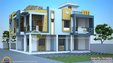 home design plans india free duplex modern duplex house in india kerala home design and