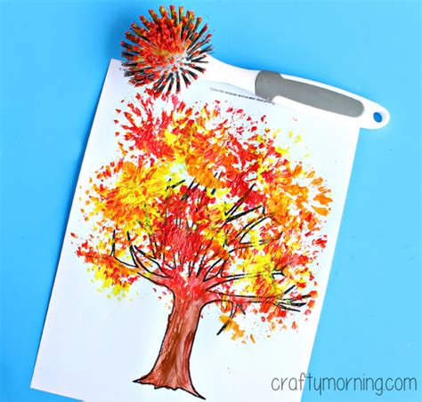 fall crafts for to make fall tree craft using a dish brush crafty morning