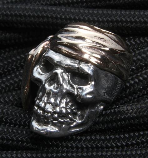 sterling silver skull gd skulls pirate sterling silver skull with bronze wrap