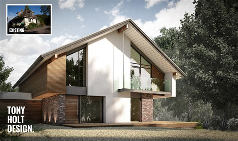 Small Footprint House Plans design concept for remodel of chalet bungalow in kent