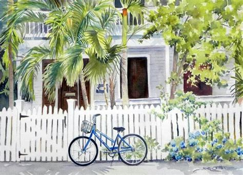 key west painting watercolor painting of a house and bike in key west fl by