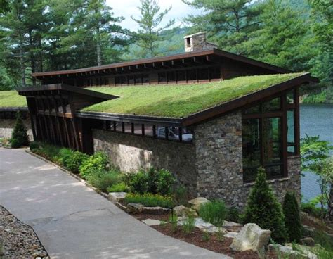 Home Exterior Design India Residence Houses green roof complements completes seasonal lakefront home