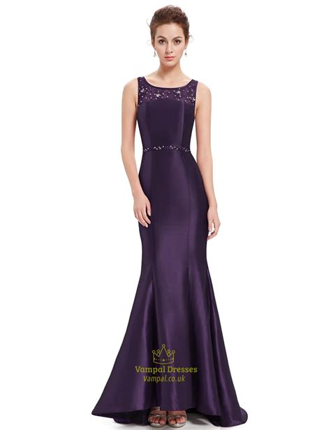 dress with beaded neckline purple beaded neckline mermaid lace embellished prom dress