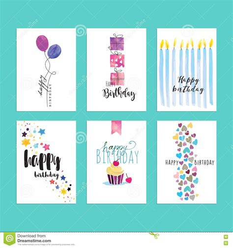 card websites for free set of birthday greeting card templates stock vector