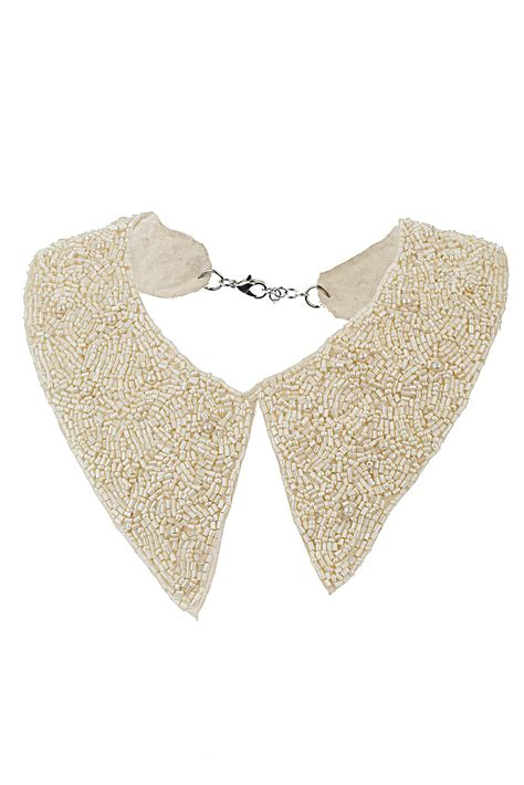 beaded collar topshop bead and pearl collar necklace in beige lyst