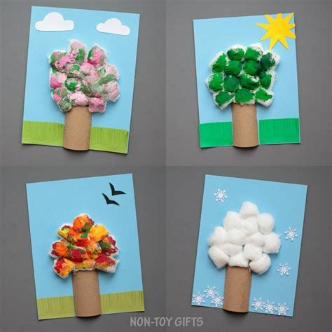 seasons crafts for four season tree craft with cotton balls non gifts