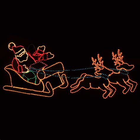 santa sleigh decorations outdoor decoration waving santa with sleigh and reindeer