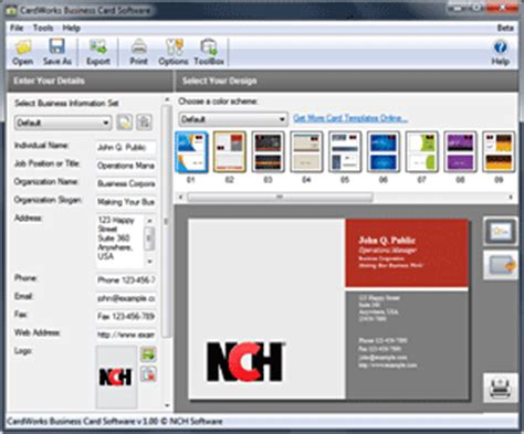 free card software free printable business card templates software