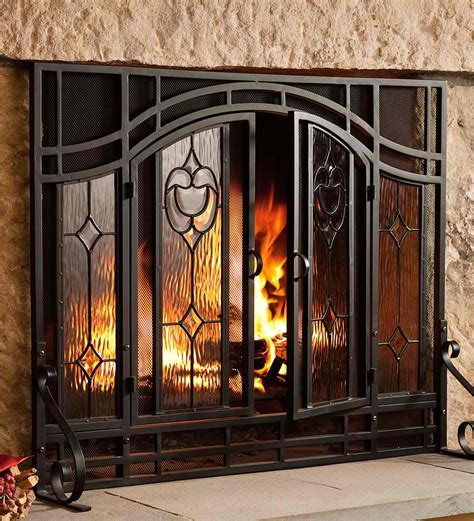 fireplace screen with glass doors fireplace screens types and safety precautions