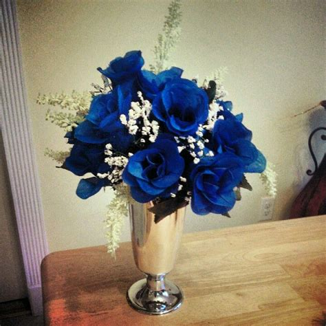 blue and silver centerpieces royal blue with silver wedding centerpiece color trends