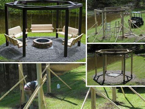 swing pit swings around firepit white pit swings diy projects