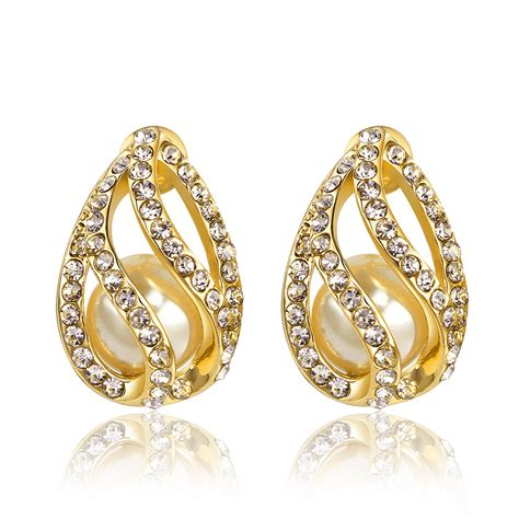 jewelry earrings water drop design stud earring tou bvlg sporty style gold