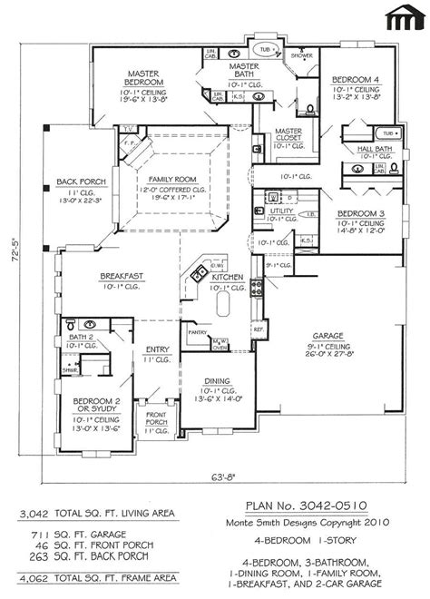 4 bedroom house plans 1 story 4 bedroom 3 bath house plans