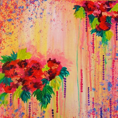 abstract acrylic painting strawberry confetti painting abstract acrylic floral