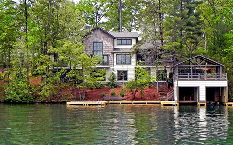Small Lakefront House Plans lake house bedding exterior rustic with boat house burton
