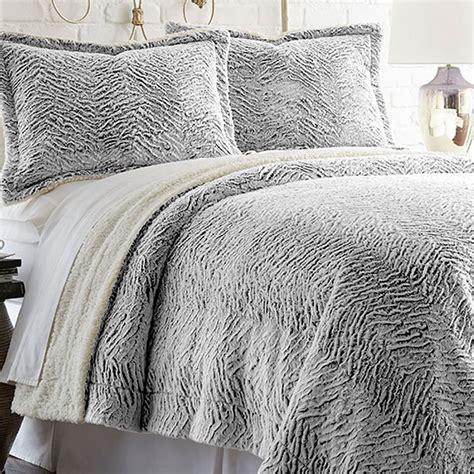 faux fur comforter set 3 faux fur comforter set in charcoal