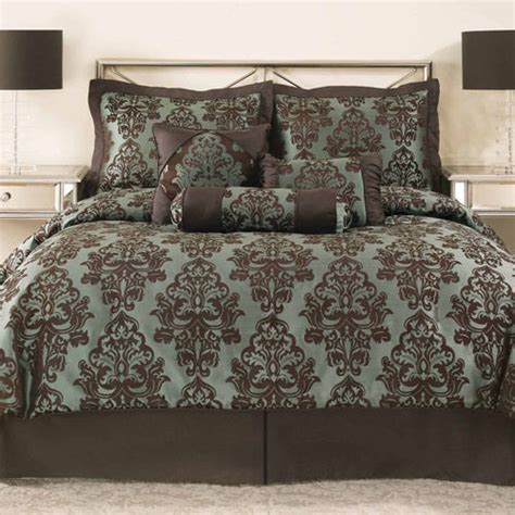 turquoise and brown comforter sets brand new brown turquoise jacquard 7 comforter set