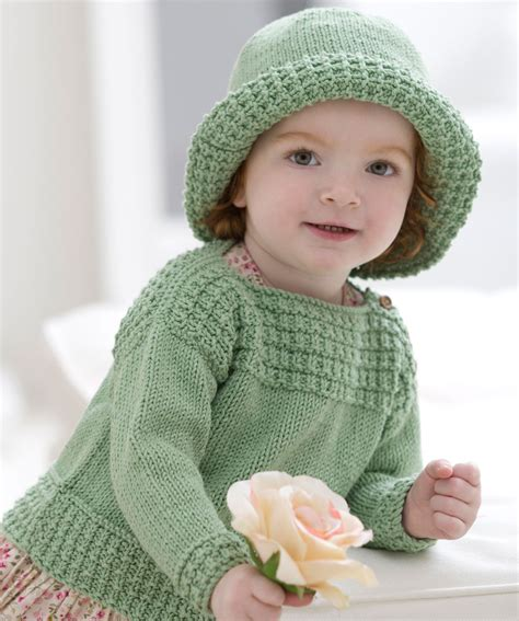 knit baby baby boat neck sweater and sun hat knitting pattern