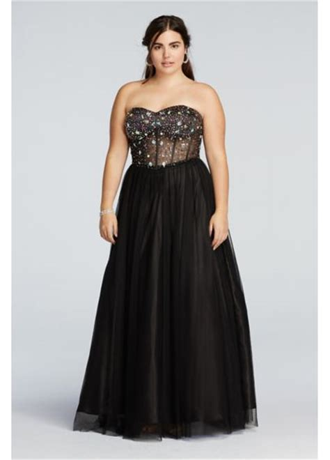 Beaded Illusion Corset Prom Dress Davids Bridal