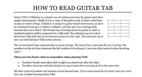 how to read a how to read guitar tab dave lockwood guitar studio